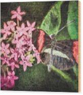 Small Postman - Pink Flower Burst Wood Print