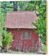 Small Red Barn - Lewes Delaware Wood Print