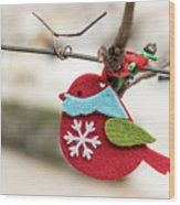 Small Red Handicraft Bird Hanging On A Wire Wood Print