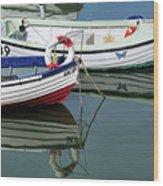 Small Skiffs - Lyme Regis Harbour Wood Print