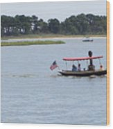 Small Stream Boat Wood Print