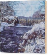 Small Stream, Snowy Scene And Waterfalls. Wood Print