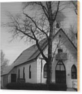 Small Town Church Wood Print