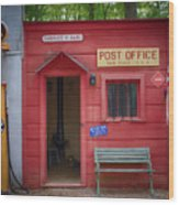 Small Town Post Office Wood Print