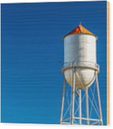 Small Town Water Tower Wood Print