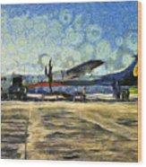 Small Turboprop Plane Wood Print