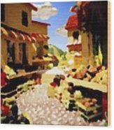 small urban market on Capri island Wood Print