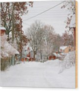 Small Village In Sweden In Lots Of Snow Wood Print