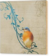 Small Vintage Bluebird With Leaves Wood Print