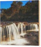 Small Waterfall In Australian Landscape  Wood Print