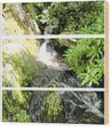 Small Waterfall Smoky Mountains Triptych Wood Print