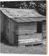Small White Barn B W Wood Print
