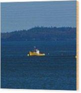 Small Yellow Boat Wood Print
