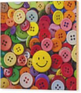 Smiley Face Button Wood Print