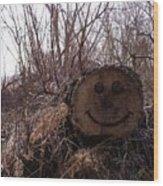 Smiley Log Wood Print