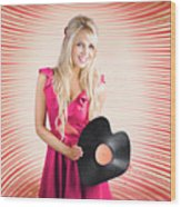 Smiling Dj Woman In Love With Retro Music Wood Print
