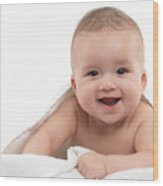 Smiling Four Month Old Baby Boy Wood Print