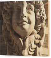 Smiling Head Above Door In Venice Wood Print