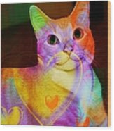 Smiling Kitty Wood Print