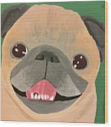 Smiling Senior Pug Wood Print