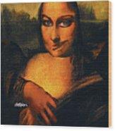 Smirking Mona Wood Print