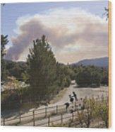 Smoke From Ventura Wildfire, View Wood Print