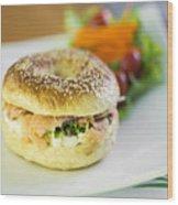 Smoked Salmon And Cream Cheese Bagel Wood Print