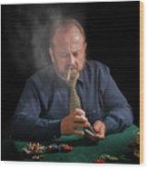 Smoker Shuffling Cards Wood Print