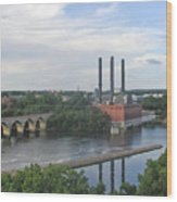 Smokestacks On The Mississippi Wood Print