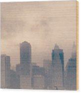 Smokey Cityscape Wood Print
