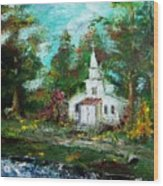 Smokey Mountains Church Wood Print