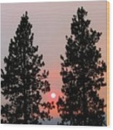 Smokey Okanagan Sunset Wood Print