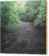 Smokey River Wood Print
