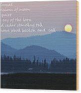 Smokey Sunset Poetry Wood Print