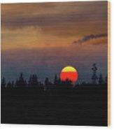 Smokey Sunset Sky Over Mount Scott Wood Print