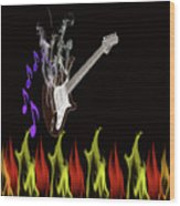 Smoking Guitar Wood Print