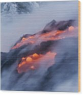 Smoking Pahoehoe Lava Wood Print