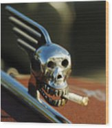 Smoking Skull Hood Ornament Wood Print