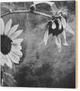 Smoking Sunflowers Wood Print