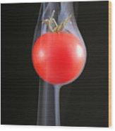 Smoking Tomato Wood Print