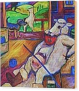 Smoko At The Sheep Shearing Shed Wood Print