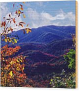 Smoky Mountain Autumn View Wood Print