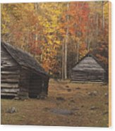 Smoky Mountain Cabins At Autumn Wood Print by Andrew Soundarajan