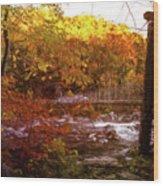 Smoky Mountain Suspension Bridge Oil Painting Wood Print