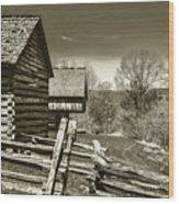 Smoky Mt Homestead - B W Wood Print