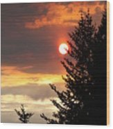 Smoky Sun Wood Print