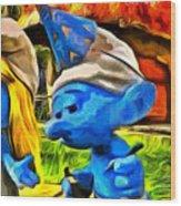 Smurfette And Friends - Da Wood Print