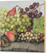 Snail With Grapes And Pears Wood Print