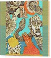 Snake And Skull Wood Print