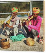 Snake Charmer And Apprentice Wood Print